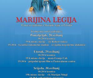 Program obilježbe petnaeste obljetnice djelovanja Marijine legije u Petrinji